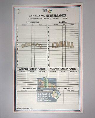 2009 World Baseball Classic Game Issued Phantom Lineup Card Canada Netherlands