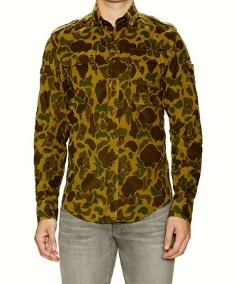 $225.00 NEW GANT by MICHAEL BASTIAN CAMOUFLAGE MICRO-CORDUROY SHIRT TAG SIZE S.