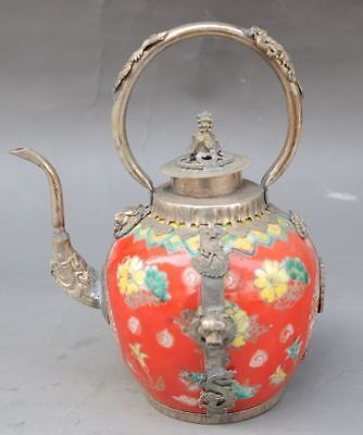 Chinese ancient collection silver dragon pixiu cover glass ceramic teapot