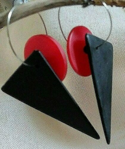 Vintage artisan red & black modernist plastic dangle pierced statement earrings