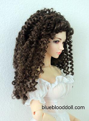 "1/3 bjd 9-10"" doll head brown curly long wig Soom Feeple Loongsoul Pullip"