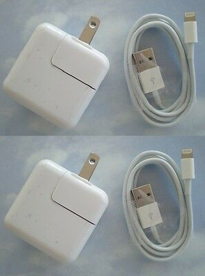 2 SETS - 12 Watt 2.4 AMP  Charger for iPad 4 5 6 USB and 8 pin sync CABLE