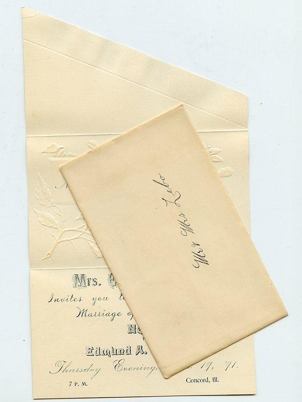 1891 Wedding Invitation - MASTERS Family Dau - Concord, Illinois (Nellie)