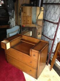 Dark Wood Dressing Table With Mirror in Good Condition
