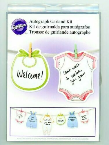 Wilton BABY SHOWER Autograph Garland Kit 24Pc. NEW 2011 RETIRED 24 TAGS & PINS