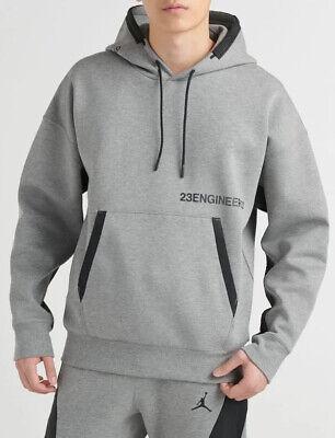 Medium Nike Air Jordan 23 Engineered Tech Fleece Pullover Hoodie Sweatshirt Gray