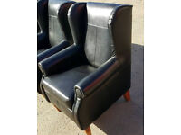 Brand 3 X New Heart of House Argyll Leather Chair And Footstool - Black.