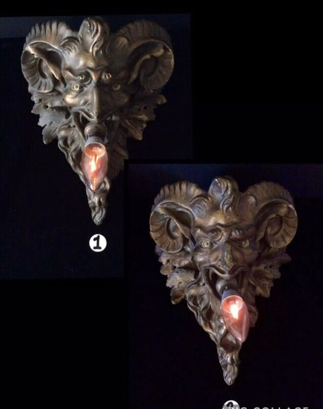 Antique Pair Of Devil Lamps French 19th Century Satyr/Devils