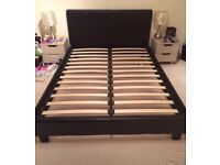 Brown leather double bed with or without mattress