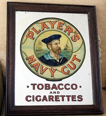"Vintage Genuine Old Framed Advertising Mirror Players Navy Cut Tobacco 22"" x 18"""