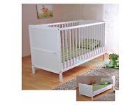 Wooden Baby Cot Bed & Deluxe Water Repellent Mattress ✔ Converts to Junior Bed