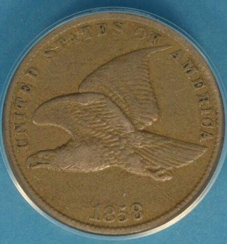 1858 Small Letters Flying Eagle Cent ANACS VF30- Light Brown Tone, Nice Example