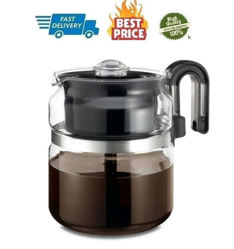 Stovetop Percolator Coffee Pot Glass 8 cup 40 oz Use on Elec