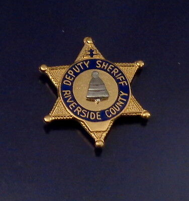 RIVERSIDE COUNTY CA California DEPUTY SHERIFF mini badge lapel pin (police)