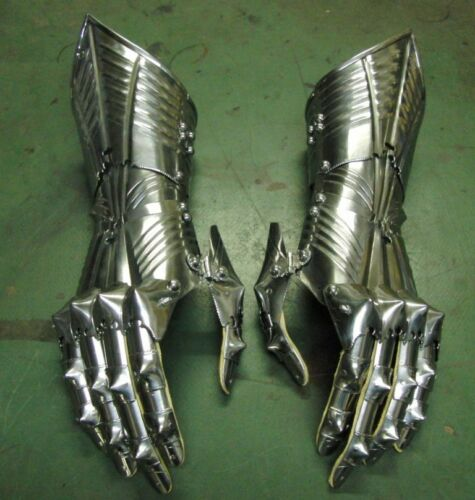 18 Gauge Medieval Articulated Steel Functional Gauntlets Gothic Style