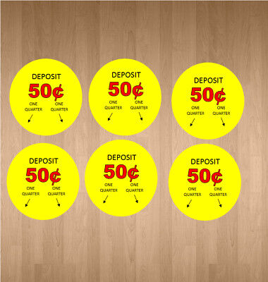6 Price Stickers Vending Machine Candy Stickers Label .50 Cent Free Shipping