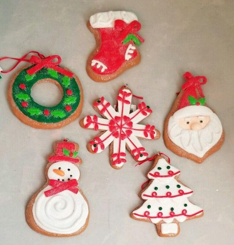 "Cookie Ornament Gingerbread Set 6 Santa 3.75"" Clay-dough Christmas Kurt Adler"