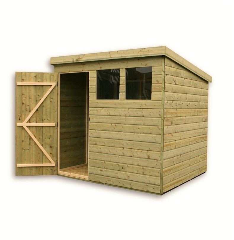 WOODEN GARDEN SHED 7X7 SHIPLAP PENT SHED TANALISED PRESSURE TREATED DOOR  LEFT