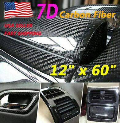 7D Glossy Carbon Fiber Vinyl Film Car Interior Wrap Stickers Auto Accessories US