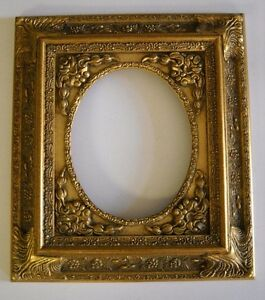 picture frame oval antique bright dark gold ornate classic old style 8 x 10. Black Bedroom Furniture Sets. Home Design Ideas