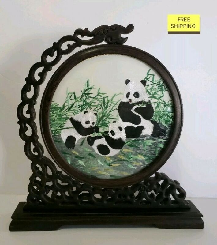 Chinese Handmade Suzhou Double-Sided Panda Silk Embroidery Screen Bamboo Wood
