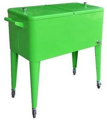 Patio Chest Cooler Cart 80 Qt Lime Rolling Insulated Basin D