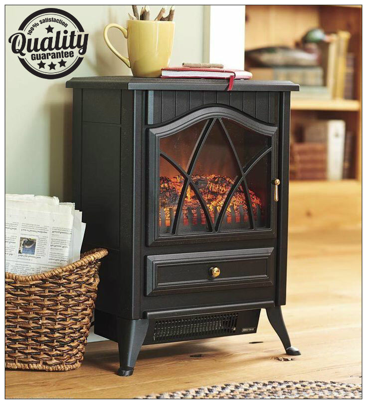 Traditional 1.8Kw White Log Burner Flame Effect Electric Stove ...