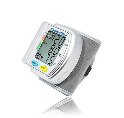 Digital Wrist Blood Pressure Monitor LCD BP Heart Rate Meter 90 Memory BP201