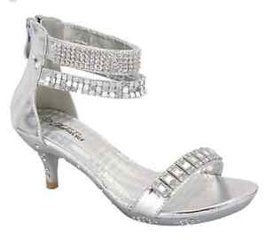 silver anklets formal dress pageant heels sizes 9 10
