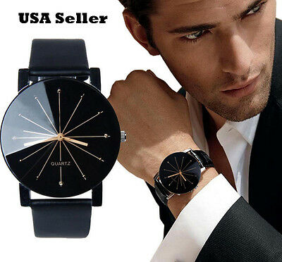 Mens Watches - New Men's Modern Leather Stainless Steel Military Sport Quartz Star Wrist Watch