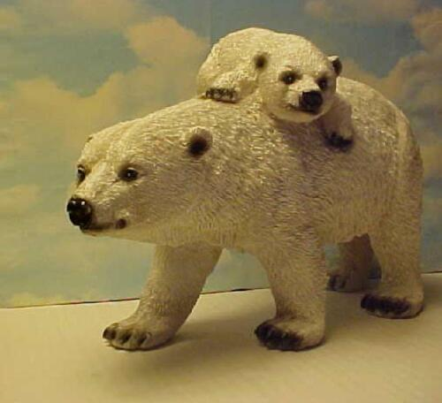 Momma Polar Bear & Baby Cub Hanging in there figurine