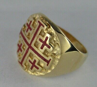 10 kt Knights Templar Cross and Crown Enamel Plain Yellow Gold Band 1930s