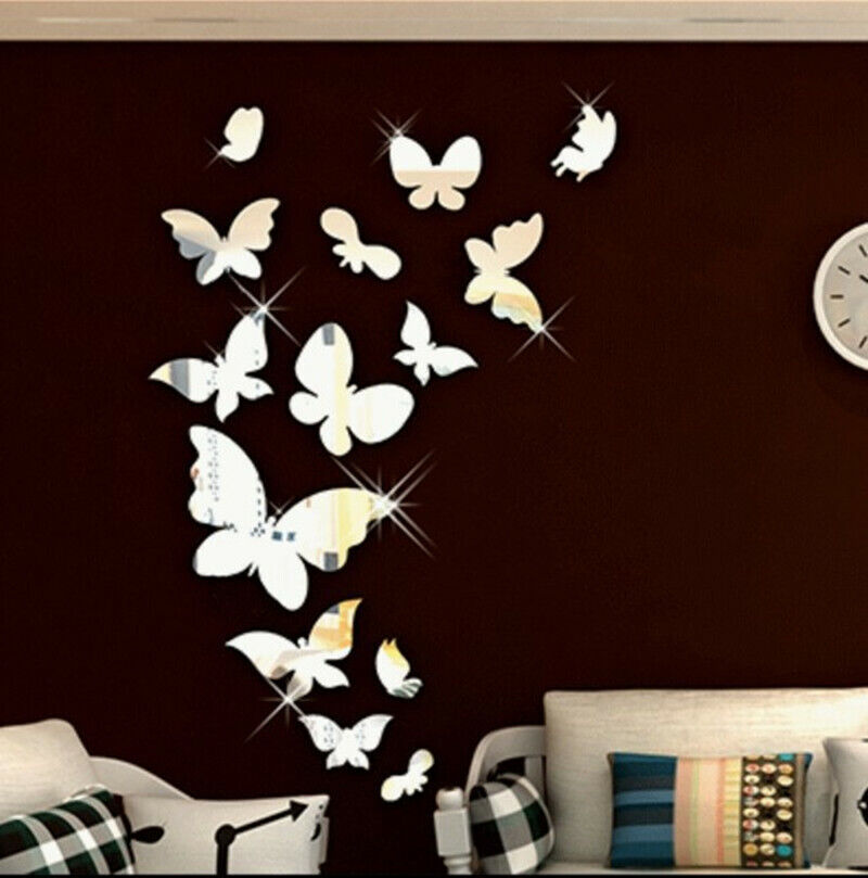 Shiny Butterfly 3D Mirror Wall Sticker Wall Decals Removable