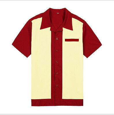 Mens Rockabilly Retro Bowling Shirts 50s 60s Style Cotton Top Casual (Mens 60s Style)
