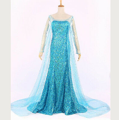 Frozen Adult Costumes (NEW Adult Lady Frozen Elsa Queen Dress skirt Gown Cosplay Movies Cartoon Blue)