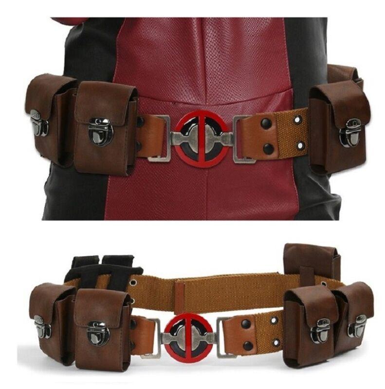 Deadpool Belt Leather For Cosplay Halloween Props with 6 pockets Movie