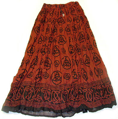 Red TRIQUETRA Charmed 100% Cotton WICCA Crinkle PAGAN Celtic PEASANT Skirt