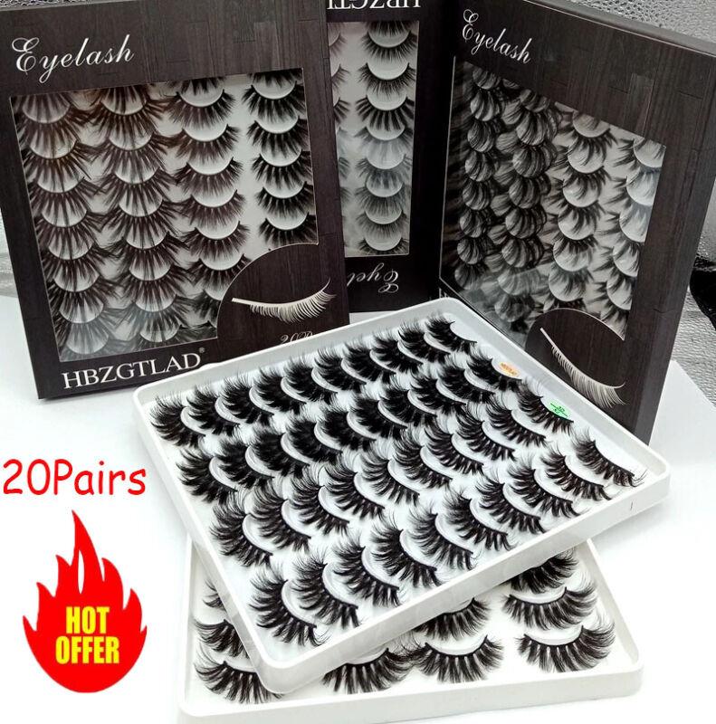 20 Pair/box 3D Natural Bushy Eyelashes Mink Hair Eye Lashes Black Cross False ^@