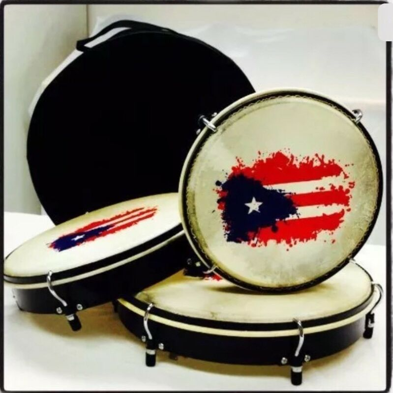 Plenera Drums, Set Of 3 Drums with Carry Bag-And Painted Puerto Rico Flag.