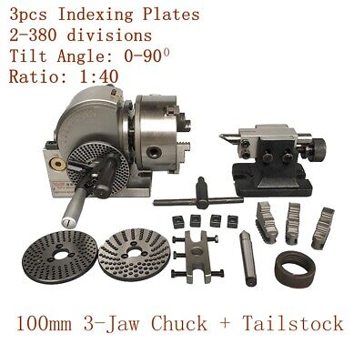 Cnc 4 Semi Universal Indexing Dividing Spiral Head 100mm 3-jaw Chuck Tailstock