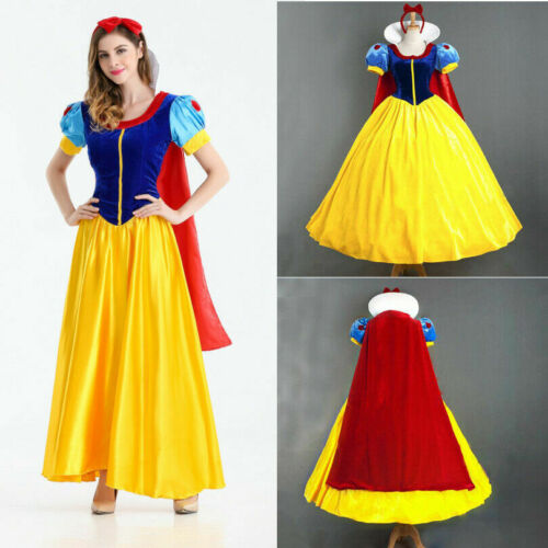 Adult Snow White Costume Princess Dress w/Petticoat & Headband Halloween Cosplay