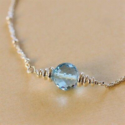 Sky Baby Blue Topaz Round Bead .925 Sterling Silver Chain Necklace U&C Sundance  Blue Topaz Round Necklace