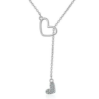 ZARD Girls Heart Shape CZ Pave Sterling Silver Charm Pendant Lariat Y Necklace
