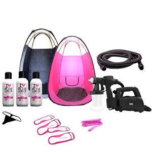 Spray-Fake-Tan-Kit-HVLP-Tanning-Machine-PopUp-Tent-750ml-FREE-Solution
