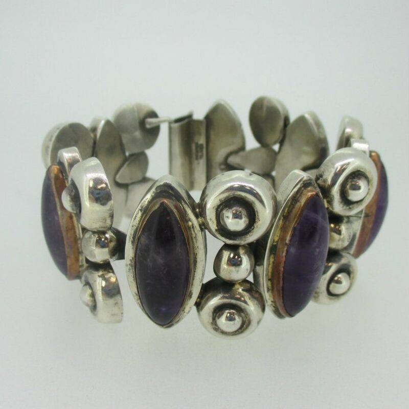 """Sterling Silver Amethyst Copper Accent Hollow Mexico Bracelet 8"""""""