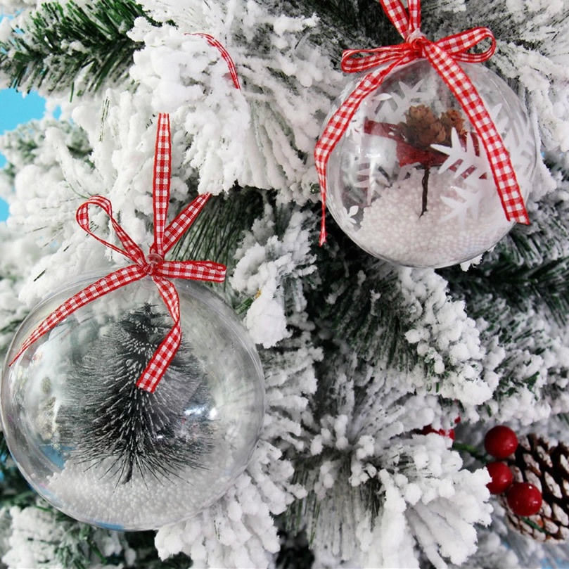 Ball Christmas Baubles Clear Fillable Xmas Tree Decoration Ornaments GX