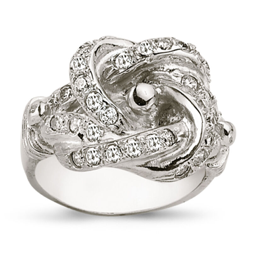 STERLING SILVER SOLID CUBIC ZIRCONIA CZ SHOT DOUBLE KNOT KEEPER RING BAND BOXED