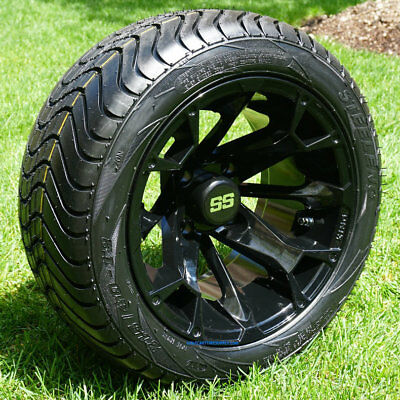 "GOLF CART 12"" BLACKJACK GLOSS BLACK WHEELS & 215/40-12 STREET TIRES (SET OF 4)"
