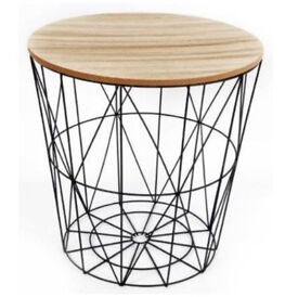 New black metal wire table wood top side storage loft living home furniture