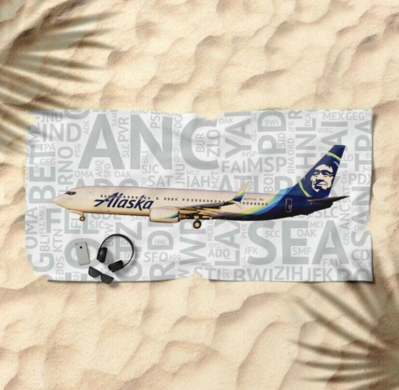 Alaska Airlines Boeing 737 with Airport Codes -  Beach Towel